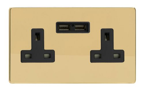 Varilight XDV5U2BS Screwless Polished Brass 2 Gang Double 13A Unswitched Plug Socket 2.1A USB